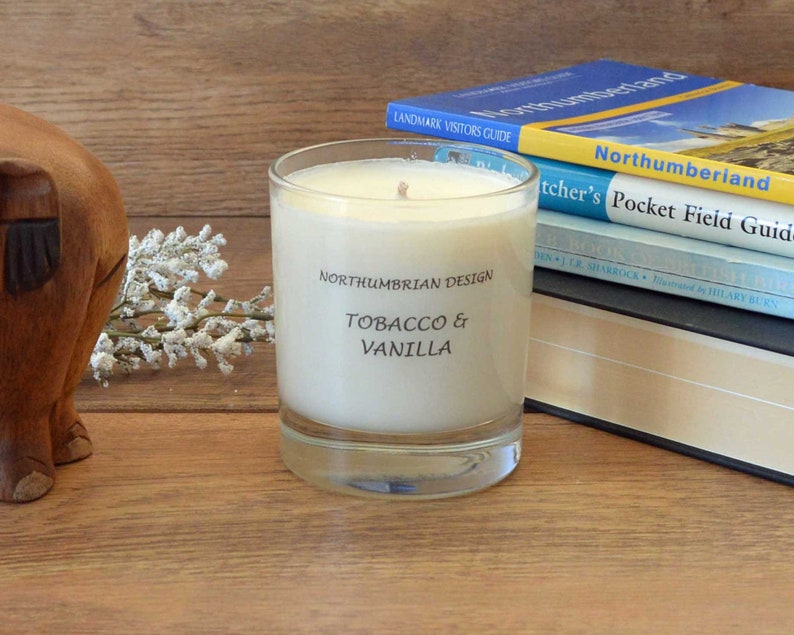 Tobacco & Vanilla  Scented Candle  Soy Candle  White Candle image 0