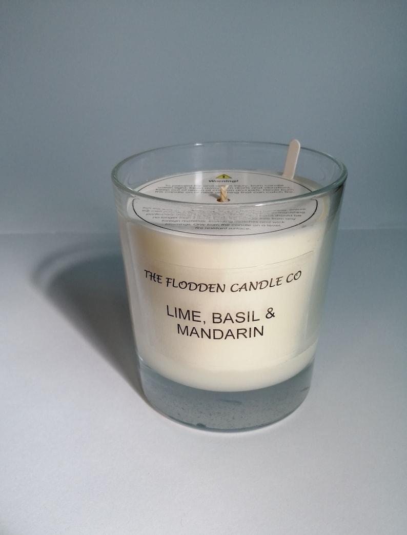 Lime Basil & Mandarin  Scented Candle  Soy Candle  White image 0