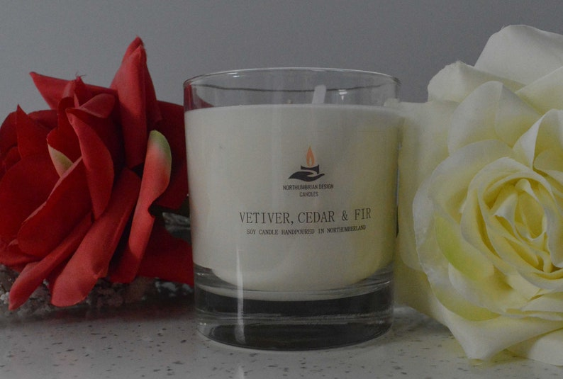 Vetiver Cedar & Fir  Scented Candle  Soy Candle  White image 0