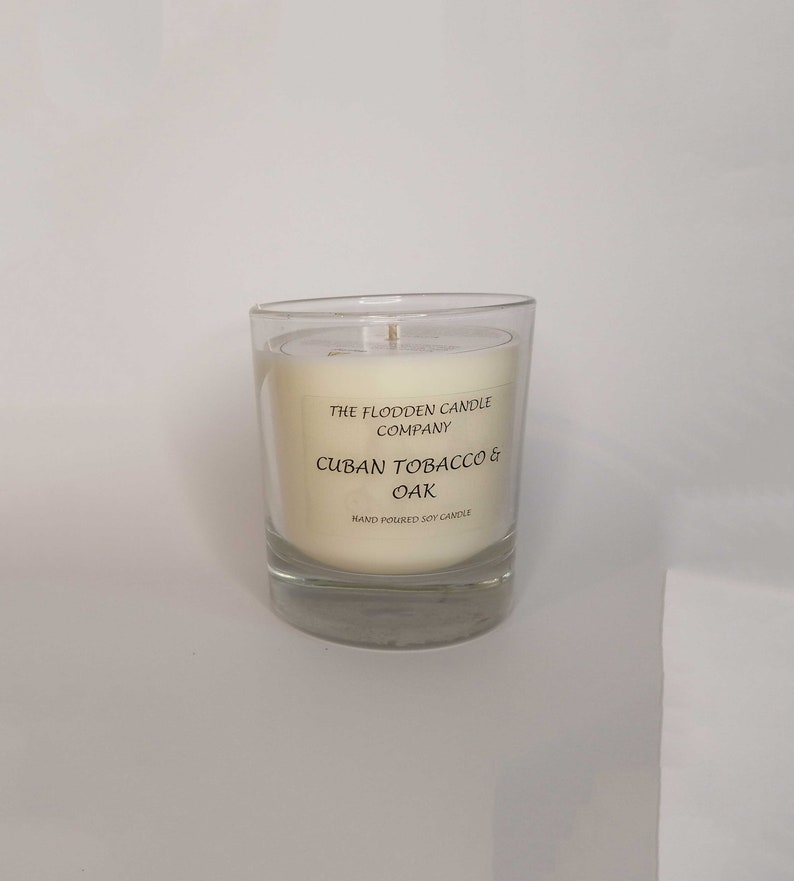 Tobacco & Oak  Scented Candle  Soy Candle  White Candle in image 0