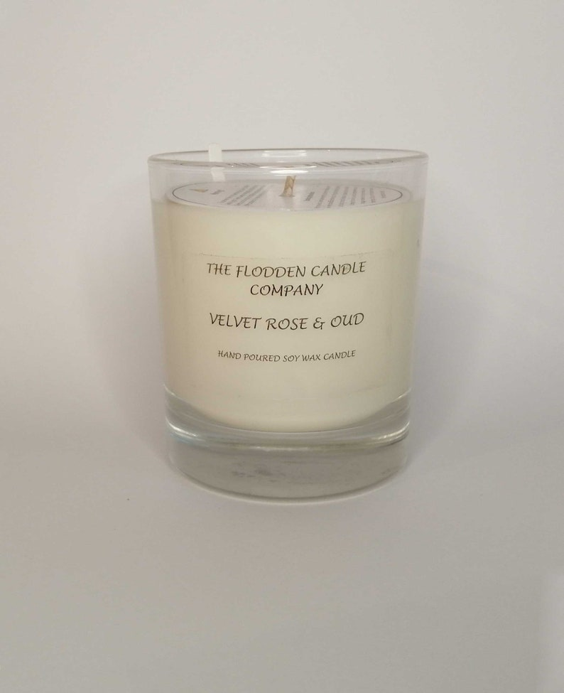 Velvet Rose & Oud  Scented Candle  Soy Candle  White Candle image 0