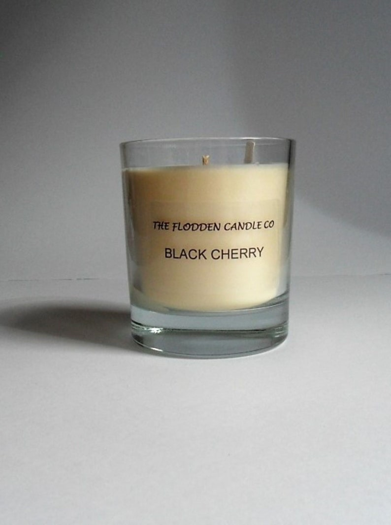 Black Cherry  Scented Candle  Vegetable Wax Candle  White image 0