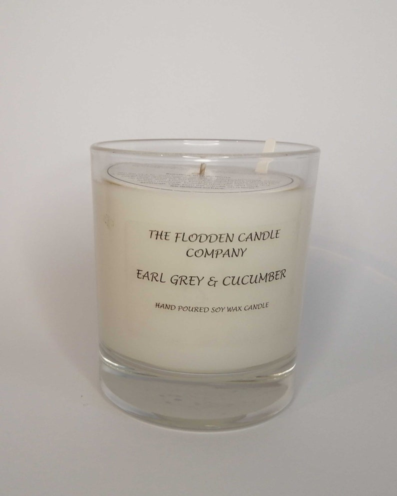 Earl Grey & Cucumber  Scented Candle  Soy Candle  White image 0