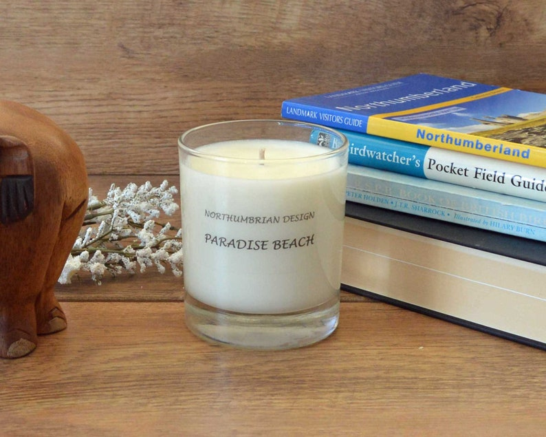 Paradise Beach  Scented Candle  Soy Candle  White Candle in image 0