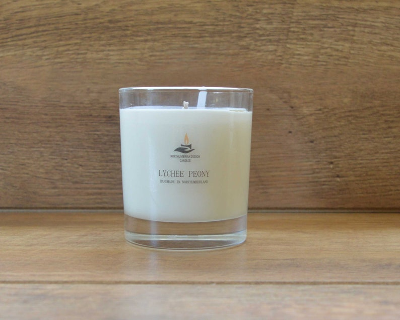 Lychee Peony  Scented Candle  Soy Candle  White Candle in image 0