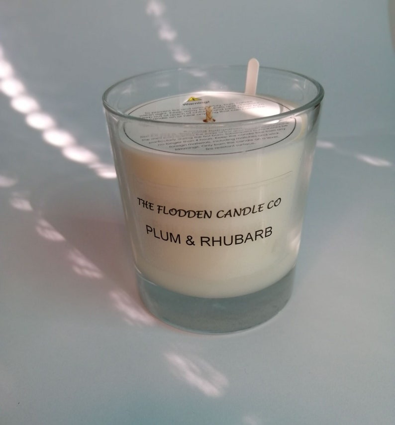 Plum & Rhubarb  Scented Candle  Soy Candle  White Candle in image 0