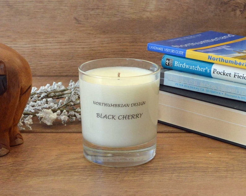 Black Cherry  Scented Candle  Soy Candle  White Candle in image 0