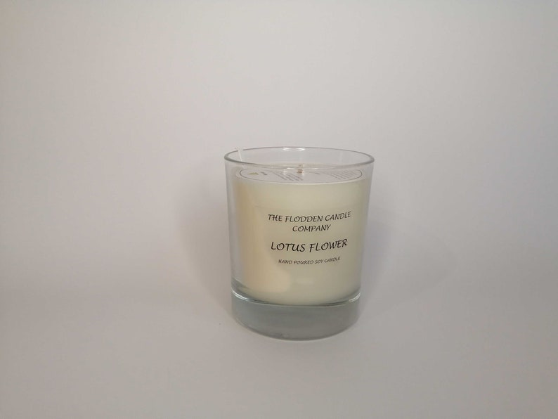 Lotus Flower  Scented Candle  Soy Candle  White Candle in image 0