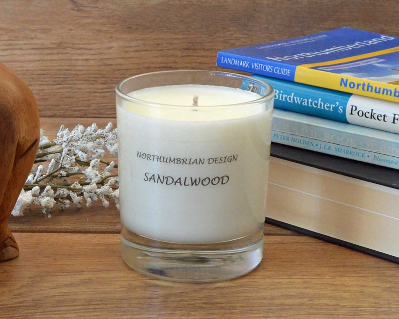 Sandalwood  Scented Candle  Soy Candle  White Candle in image 0
