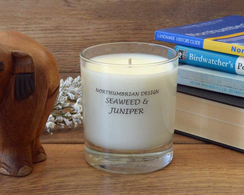 Seaweed & Juniper  Scented Candle  Soy Candle  White Candle image 0