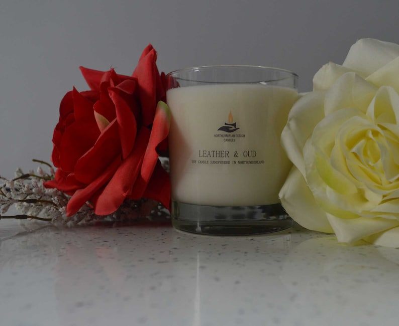 Leather & Oud  Scented Candle  Soy Candle  White Candle in image 0