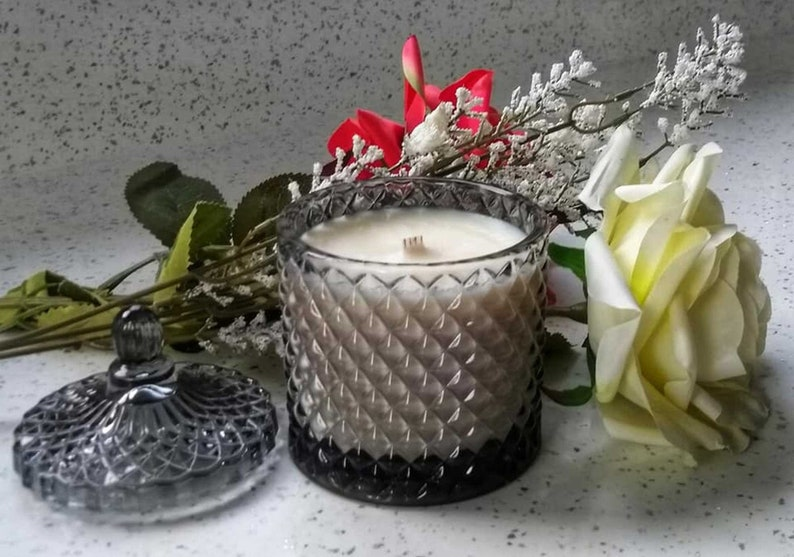 Scented Candle  Soy Candle  Luxury Candle  Candle in Cut Smokey Grey