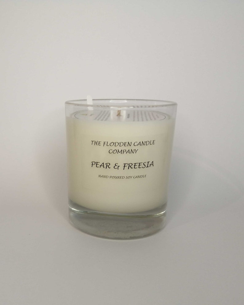 Pear & Freesia  Scented Candle  Soy Candle  White Candle in image 0