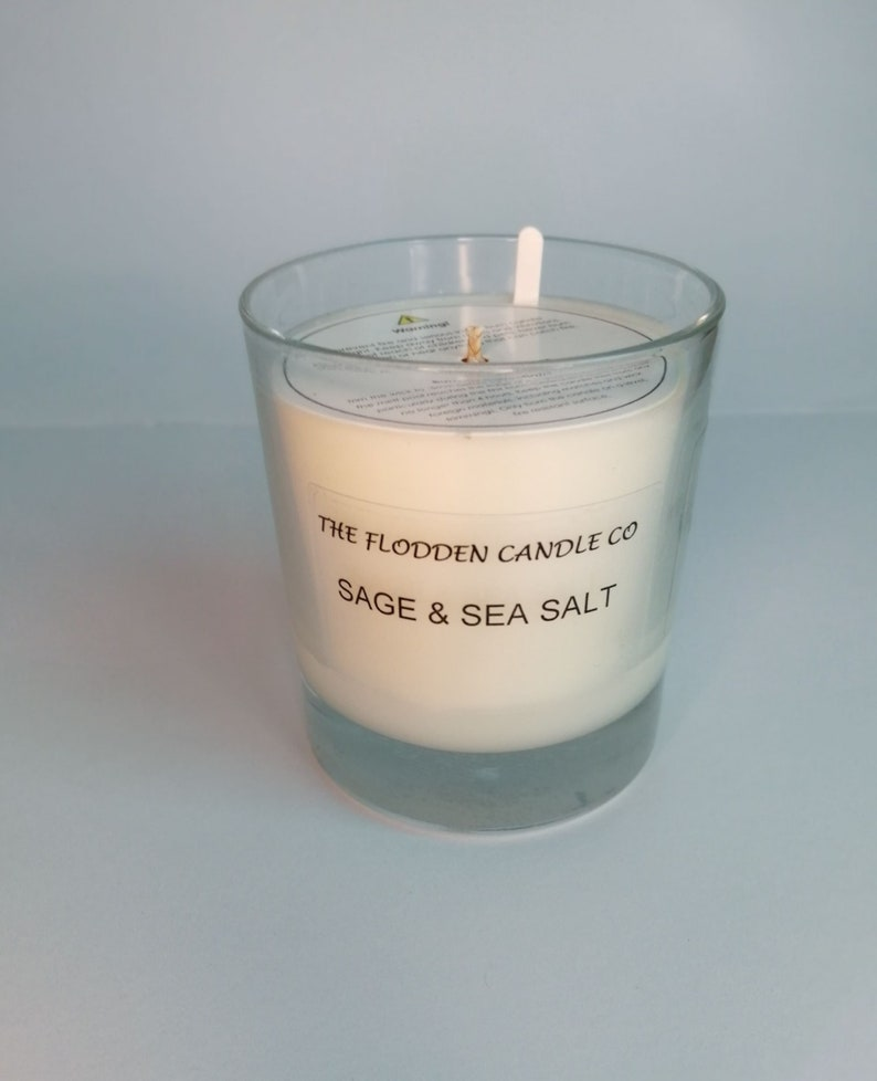 Sage & Sea Salt  Scented Candle  Soy Candle  White Candle image 0