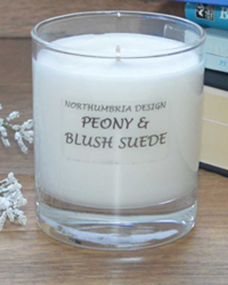 Peony & Blush Suede  Scented Candle  Soy Candle  White image 0