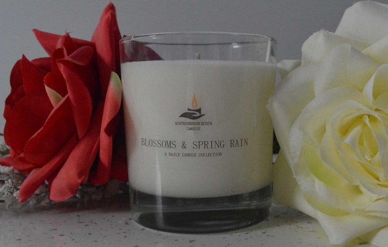 Blossoms & Spring Rain  Scented Candle  Soy Candle  White image 0