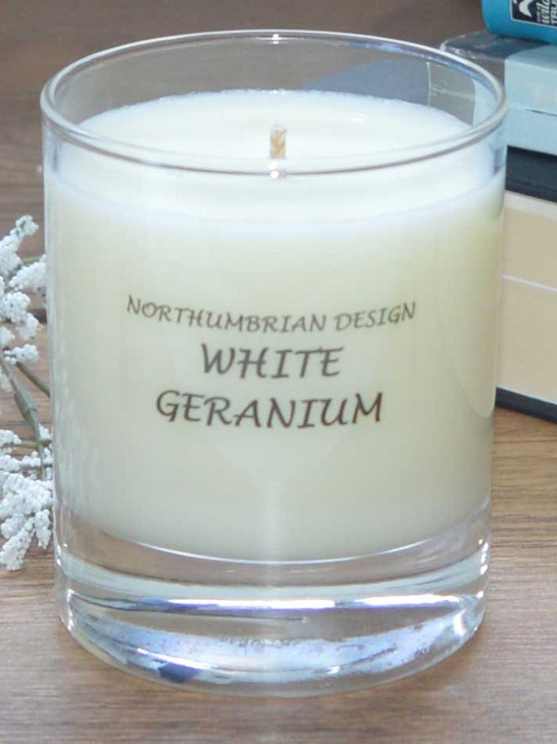 White Geranium  Scented Candle  Soy Candle  White Candle in image 0