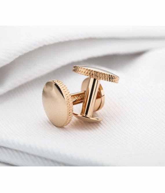 Personalised Rose Gold Wedding Cufflinks For The Groom Rose Etsy