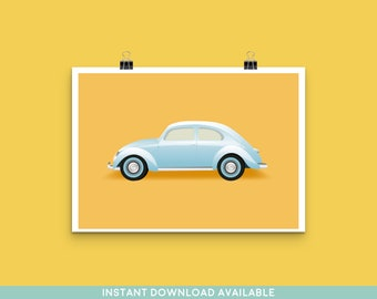 Blue Beetle Car - Art Print - Digital Art Available - Poster - Vintage - 1950s - 1960s - 1970s - Classic