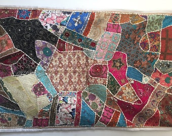 Indian Handmade Tapestry ,Indian Throw Wall Decor Art,Patchwork Wall Tapestry, Sequins Work Tapestry ,Embroidered Tapestry