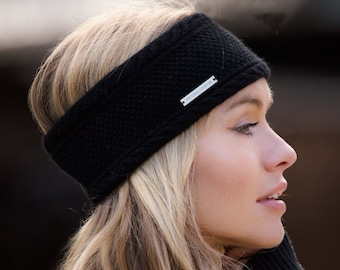 Ladies black cashmere ear warmer / headband