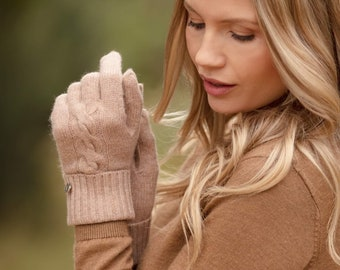 Cashmere gloves, cable cashmere gloves