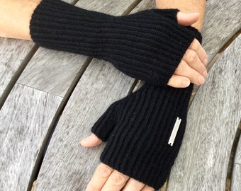 Ladies fingerless cashmere mittens - longer wrist warmer length