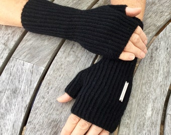 Ladies fingerless cashmere mittens - standard wrist length