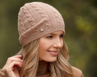 Cashmere hat, lightweight cable cashmere beanie hat, pure cashmere beanie