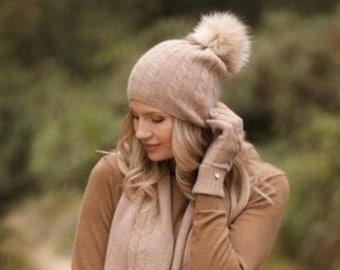 Cashmere hat, lightweight cable cashmere Pom Pom hat, pure cashmere beanie