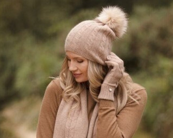 Featured listing image: Cashmere hat, lightweight cable cashmere Pom Pom hat, pure cashmere beanie