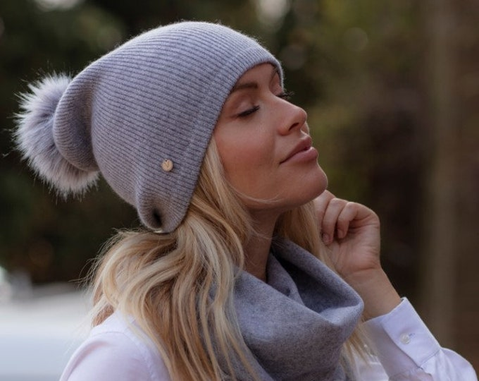 Featured listing image: Slouchy ribbed cashmere Pom Pom hat