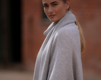 Cashmere scarf, luxury ribbed cashmere scarf