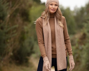 Cashmere scarf, pure cashmere cabled scarf, long cashmere scarf
