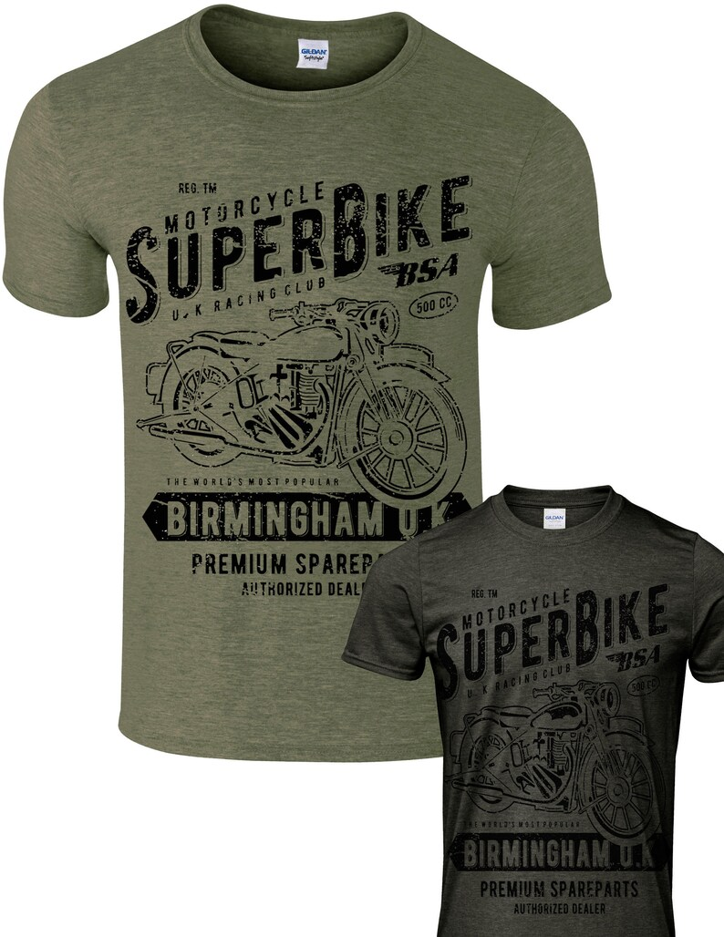 332bf2a0 Motorcycle motorbike cafe racer biker men t shirt BSA super   Etsy