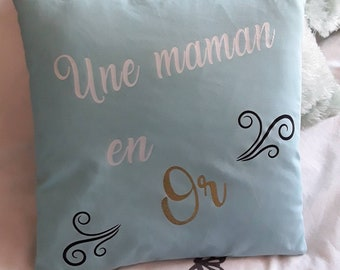 "Cushion ""A MOM in gold"" turquoise blue"