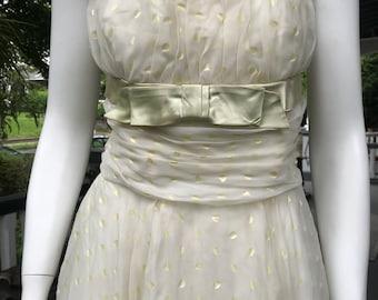 Vintage Strapless 50's Party Prom Dress Full Skirt