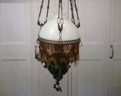 Antique hanging lamp model oil lamp with white opaline shade, green oil reservoir, beaded fringe, richly decorated, height adjustable 1910s