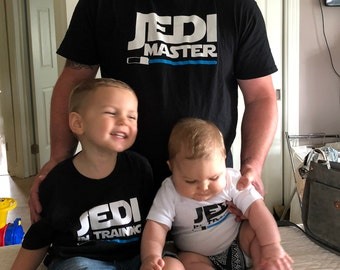 38b326941 Dad son Jedi master and Jedi in training, Matching father son shirts,  Matching family set, family shirts, Jedi master shirt,Jedi in training