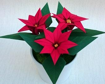 Origami Poinsettia Etsy