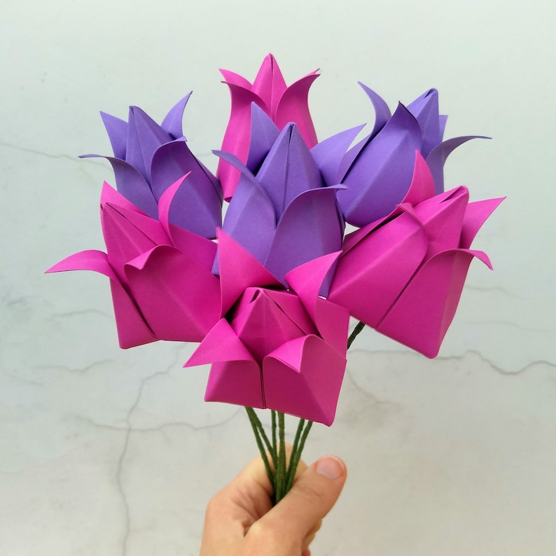 Pink And Purple Origami Tulips Paper Flower Bouquet Alternative Flowers Birthday Gift