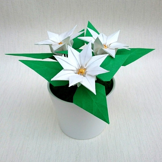 White Poinsettia Plant In Pot Christmas Gift Origami Paper Etsy