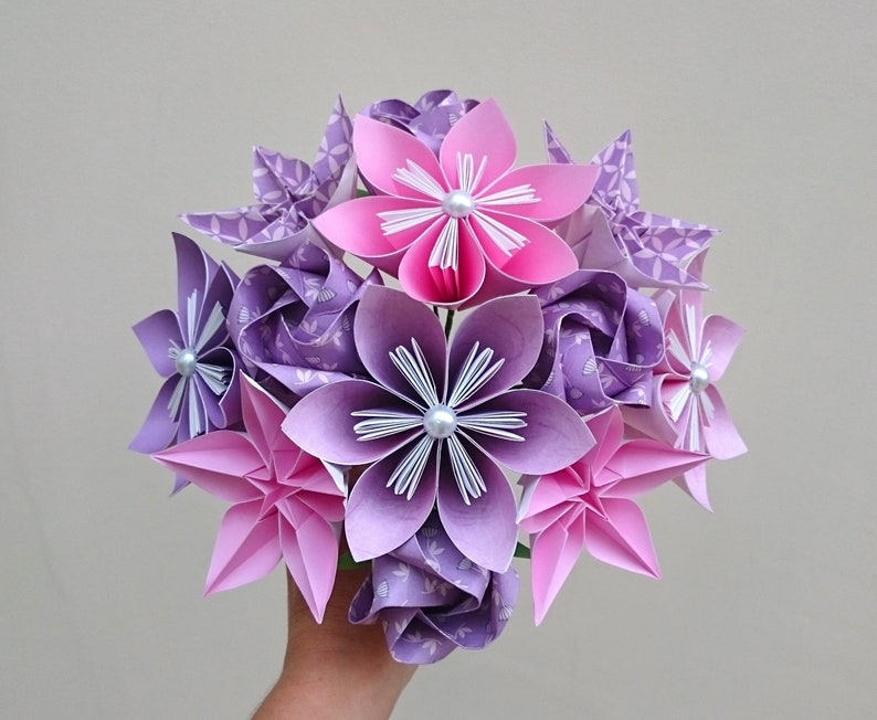 Pink And Purple Origami Paper Flower Bouquet Mothers Day Gift 1st Anniversary Gift Alternative Boho Wedding Flowers