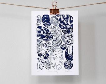 Seashell Study Original Limited Edition Linocut print, Linoprint