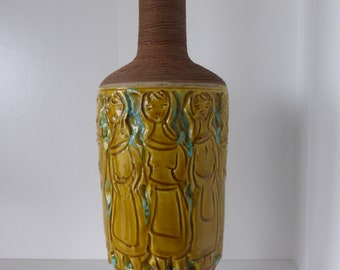 Form Number 7895 A Beautiful and rare Fratelli Fanciullacci Design Vase With Yellow Women Italy 1970.