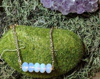 Dainty Opal Bar Bracelet