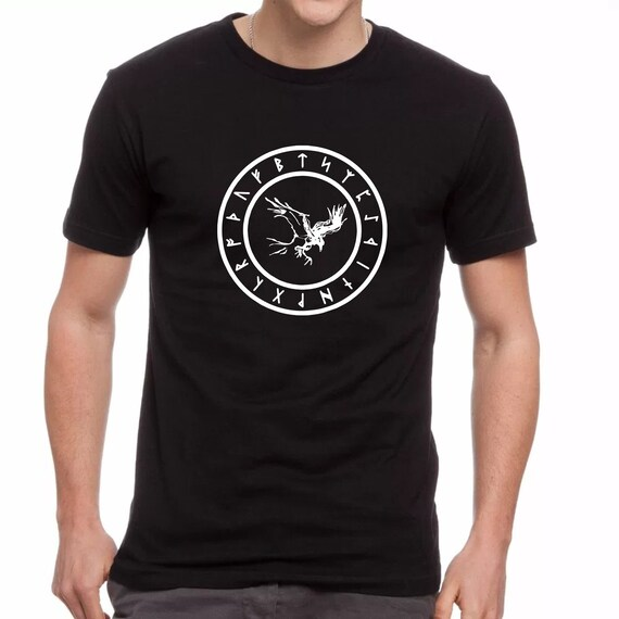 Viking Gifts Odin Tshirt Huginn and Muninn T-shirt Valhalla Tee Viking Shirt