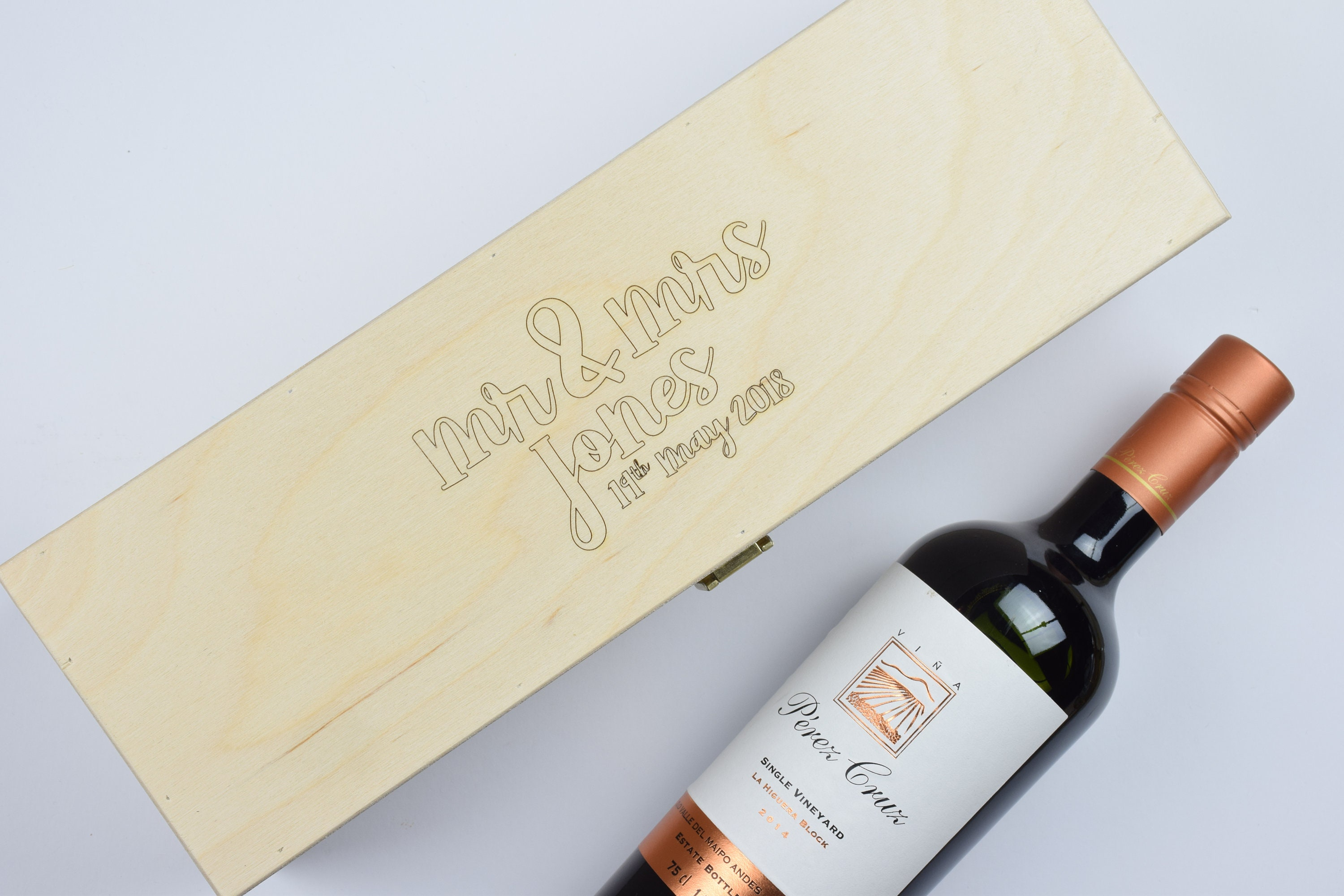 d40014b3d916 Personalised Wedding Wooden Wine Box, Wedding Present, Anniversary Gift,  Fits Wine and Champagne Bottles.