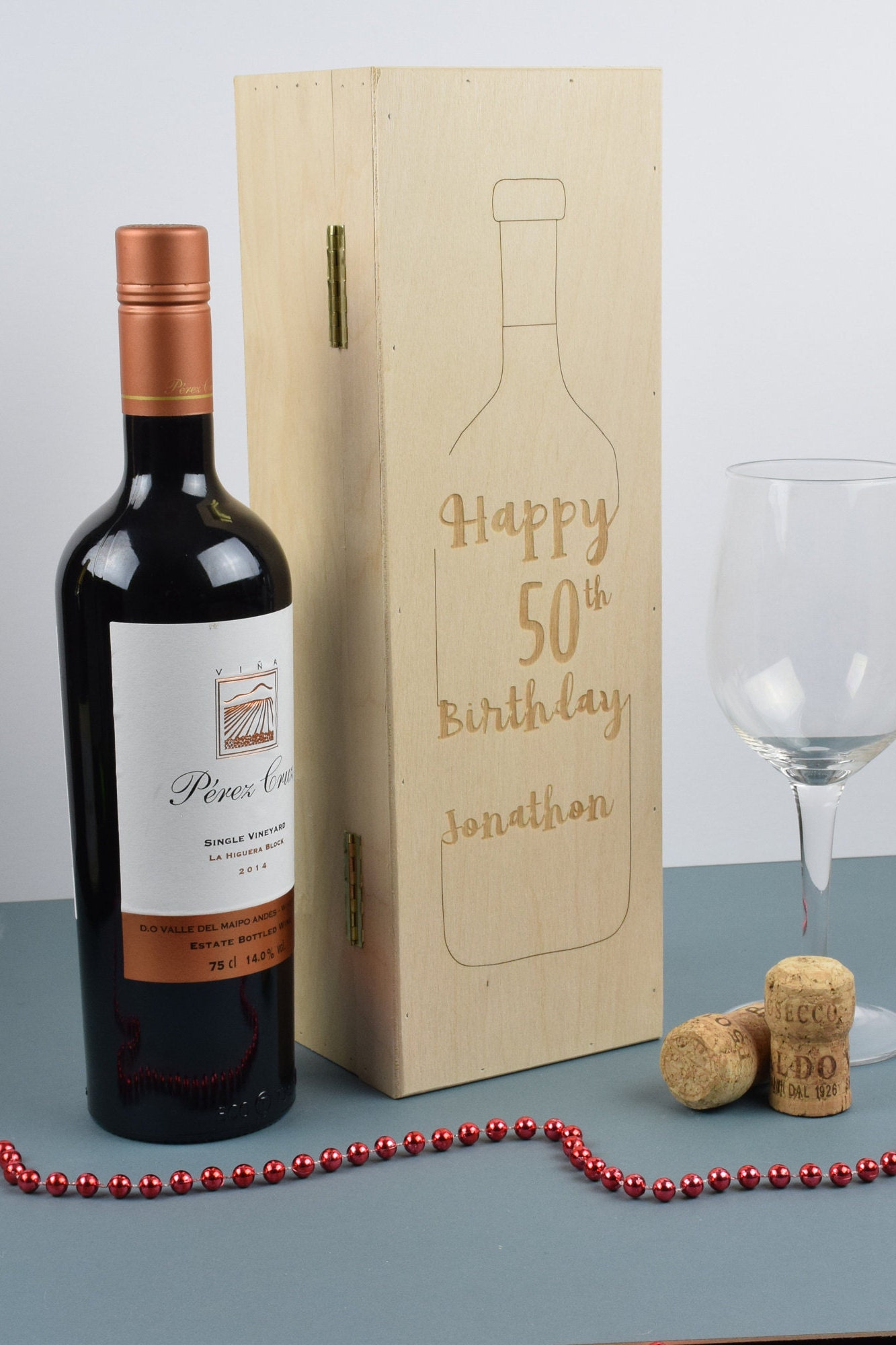 Personalised Wooden Wine Champagne Box Anniversary Wedding Birthday