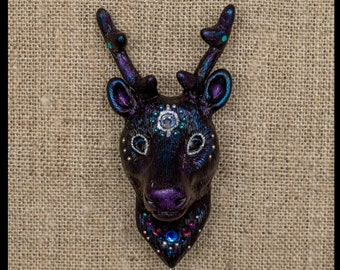 Deer brooch Polymer clay Cosmic Galaxy Astral Celestial Animal Handmade Jewelry Black Sparkle Horns Head